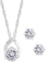 Charter Club Silver-Tone Crystal Pendant Necklace and Earrings Set, Only at Macy's
