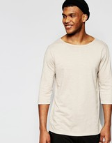 Asos Slub Jersey Relaxed Longline 3/4 Sleeve T-Shirt With Boat Neck In Beige