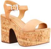 Schutz Glorya Leather Cork Platform Sandals