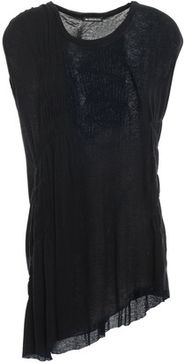 Ann Demeulemeester Shirred Ribbed Cotton And Cashmere-blend Jersey Top