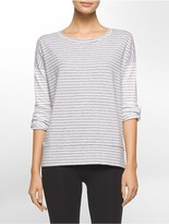 Calvin Klein Performance Oversized Striped Roll-Up Top