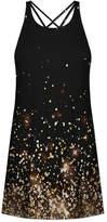 Udear UDEAR Women's Casual Dresses Print - Black & Gold Abstract Dot Strappy-Back Sleeveless Dress - Women & Plus