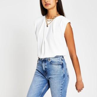 River Island Womens White sleeveless shoulder pad top