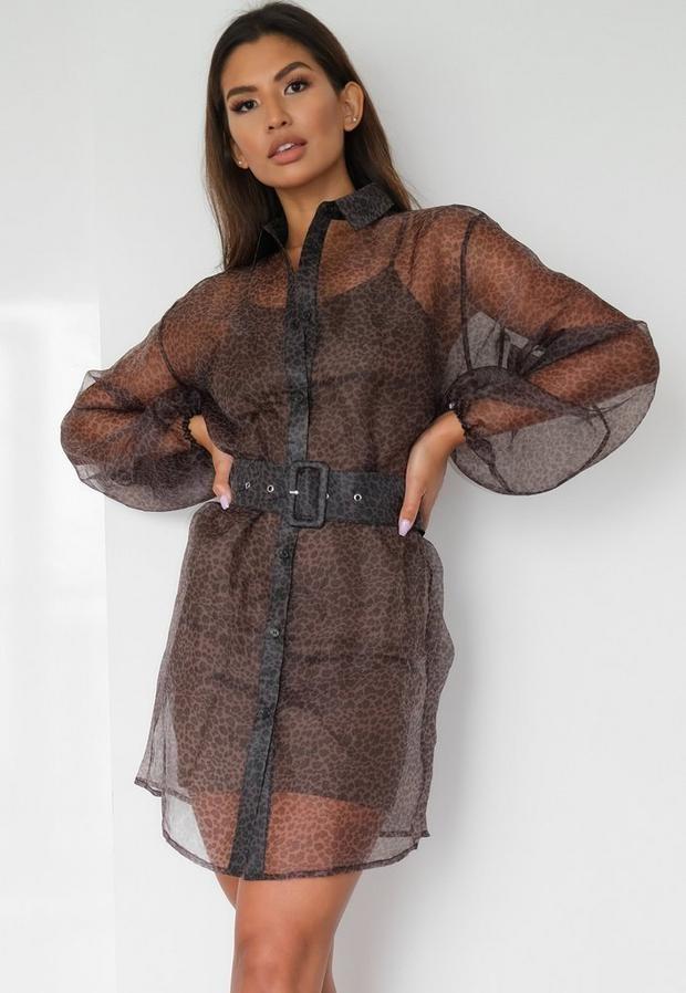 Missguided Brown Leopard Organza Balloon Sleeve Shirt Dress