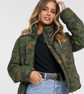 JDY padded jacket in camo-Multi