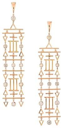 Etho Maria Geometric 18K Rose Gold & Brown Diamond Chandelier Earrings