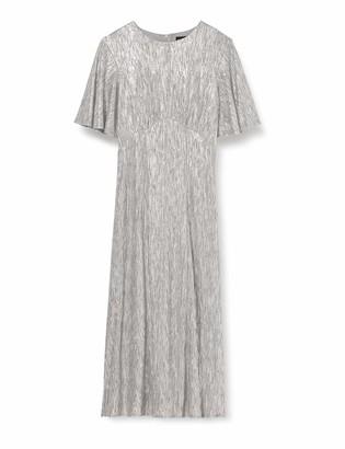 Yumi Women's Foil Detailed Ruffle Sleeve Midi Dress Casual