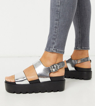Co Wren Wide Fit chunky sole sandals in silver