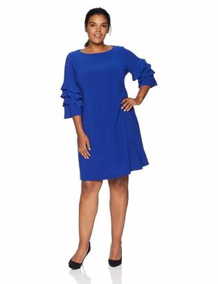 Gabby Skye Women's Plus Size 3/4 Tiered Bell Sleeves A-Line Knee Length Dress