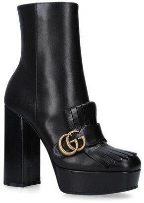 Gucci Fringed Leather Marmont Ankle Boots 85