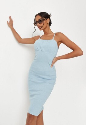 Missguided Blue Rib Ruched Bust Strappy Midaxi Dress