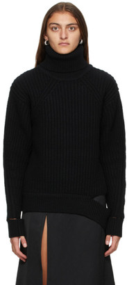 System Black Rib Knit Turtleneck
