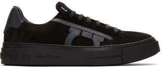 Salvatore Ferragamo Black and White Gancini Sneakers