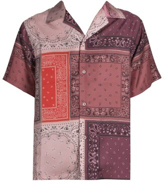 Amiri Short-Sleeve Reconstructed Bandana Silk Shirt