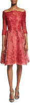 Monique Lhuillier Strapless Lace-Illusion Party Dress, Red