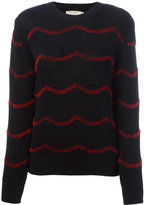 MAISON KITSUNÉ hand embroidered jumper - women - Cotton/Wool - M