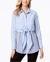 NY Collection Poplin Mixed-Stripe Tie-Front Top