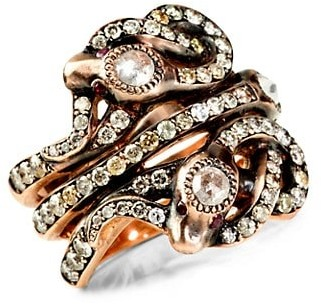 Sylva & Cie 14K Rose Gold, Diamond & Ruby Triple Snake Ring
