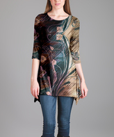 Lily Brown Abstract Floral Three-Quarter Sleeve Tunic - Plus Too