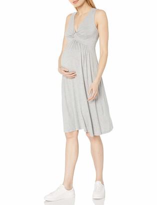 Daily Ritual Amazon Brand Women's Maternity Sleeveless Gathered Center V-Neck Dress Grey XX-Large