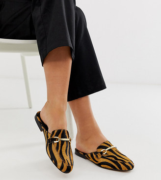 Asos Design DESIGN Wide Fit Moves leather mule loafers in tiger-Multi