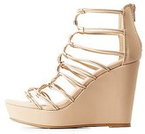 Charlotte Russe Bamboo Caged Wedge Sandals