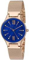 Anne Klein Women's AK/2418CBRG Swarovski Crystal Accented Rose Gold-Tone Mesh Bracelet Watch