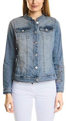 Cecil Women's 210695 Denim Jacket, (mid Blue wash 30283), 10 (Size: S)