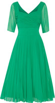Mikael Aghal Pleated georgette dress