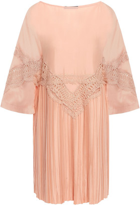 Alberta Ferretti Lace-trimmed Pleated Chiffon Mini Dress