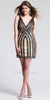 Dave and Johnny Vertical Stripe Overlay Homecoming Dress