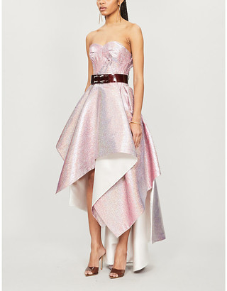 Maticevski Happiness strapless crepe-metallic dress