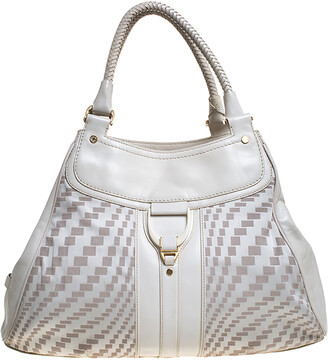 Cole Haan White checkered Fabric and Leather Triangle Tote