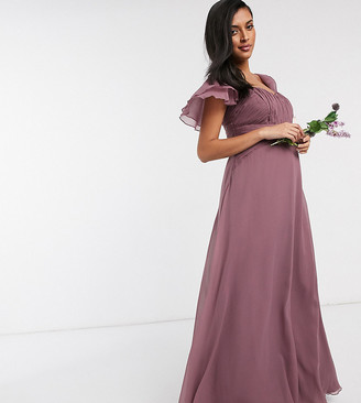 ASOS DESIGN Maternity Bridesmaid short sleeve ruched maxi dress in Dusty Mauve