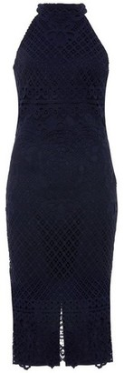 Dorothy Perkins Womens Quiz Navy Lace High Neck Midi Dress, Navy