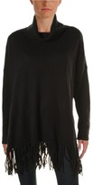 Lauren Ralph Lauren Womens Fringe Turtleneck Poncho Sweater