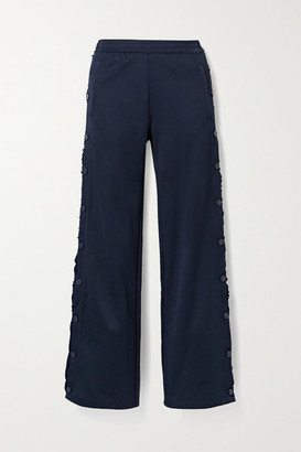 Tory Sport Ruffled Stretch-knit Track Pants - Storm blue
