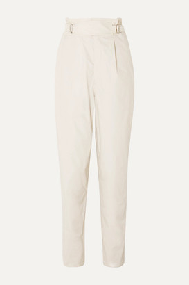 Isabel Marant Pierson Pleated Cotton Tapered Pants - Ecru