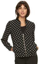 Elle Women's ELLEa Polka-Dot Bomber Jacket