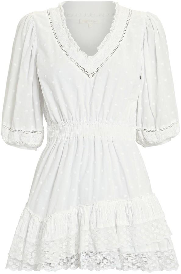 LoveShackFancy Adley Ruffled Lace Mini Dress