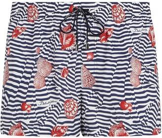 Dolce & Gabbana Stripe Shell Print Swim Shorts