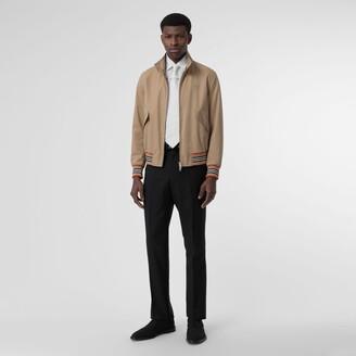 Burberry Icon Stripe Detail Cotton Gabardine Harrington Jacket