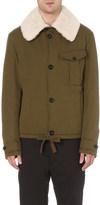 Loewe Shearling-collar cotton aviator jacket