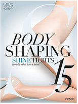 M&S Collection 2 Pair Pack 15 Denier Secret SlimmingTM Shine Body Shaper Tights