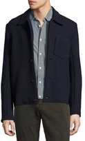 Billy Reid Gunner Boiled Wool Jacket, Navy