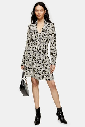 Topshop Womens Tall Ivory Print Tie Neck Mini Dress - Ivory