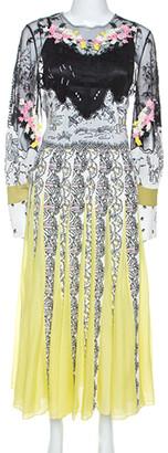 Valentino Multicolor Printed Silk Tulle Embroidered Midi Dress S