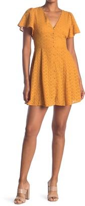 Eyelet Lace Deep V-Neck Dress
