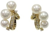 Mikimoto 18K Yellow Gold Akoya Pearl & 0.18ct. Diamond Earrings