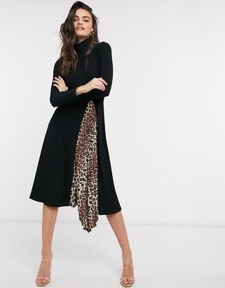 ASOS DESIGN midi dress with high neck and leopard print slit